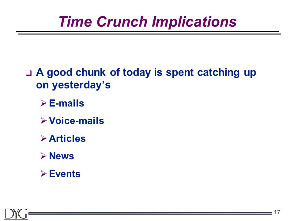 17 Time Crunch Implications  A good chunk of today is spent catching up on yesterday's  E-mails  Voice-mails  Articles  News  Events