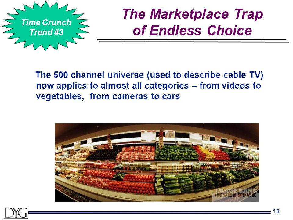 18 The 500 channel universe (used to describe cable TV) now applies to almost all categories – from videos to vegetables, from cameras to cars The Mar