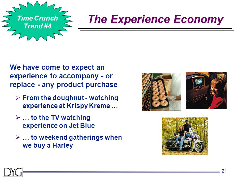 21 We have come to expect an experience to accompany - or replace - any product purchase The Experience Economy #2 Time Crunch Trend #4  From the doughnut - watching experience at Krispy Kreme …  … to the TV watching experience on Jet Blue  … to weekend gatherings when we buy a Harley
