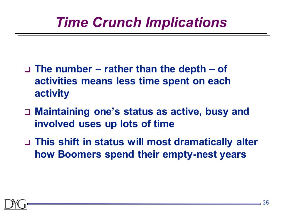 35 Time Crunch Implications  The number – rather than the depth – of activities means less time spent on each activity  Maintaining one's status as
