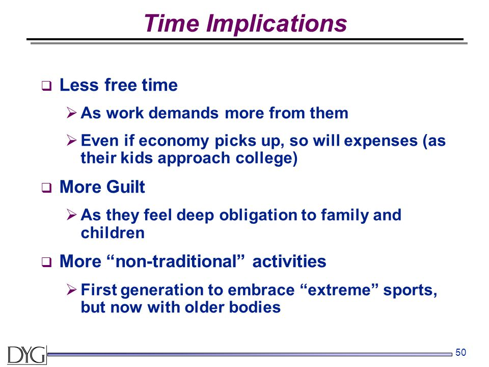 50 Time Implications  Less free time  As work demands more from them  Even if economy picks up, so will expenses (as their kids approach college)  More Guilt  As they feel deep obligation to family and children  More non-traditional activities  First generation to embrace extreme sports, but now with older bodies