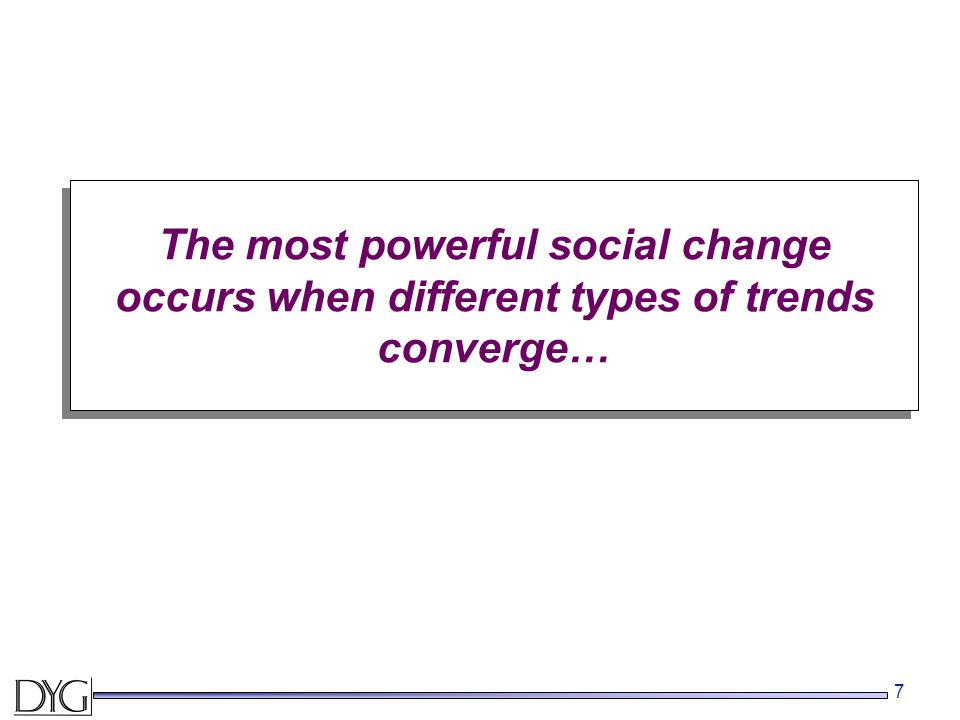 7 The most powerful social change occurs when different types of trends converge…