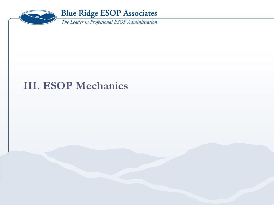 III. ESOP Mechanics