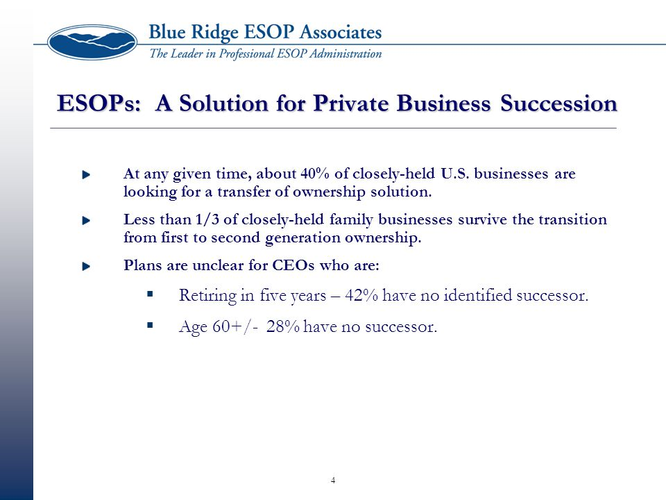 4 ESOPs: A Solution for Private Business Succession At any given time, about 40% of closely-held U.S.