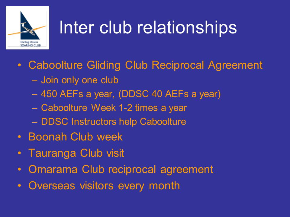 Inter club relationships Caboolture Gliding Club Reciprocal Agreement –Join only one club –450 AEFs a year, (DDSC 40 AEFs a year) –Caboolture Week 1-2