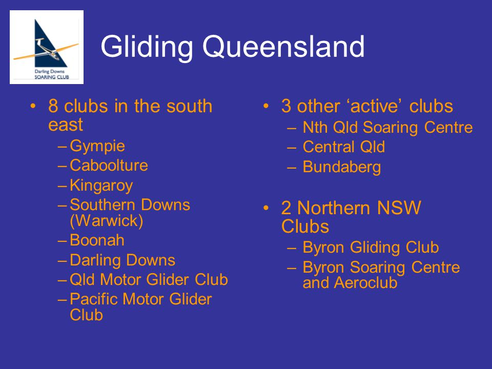 Gliding Qld Today 7 years ago almost defunct with $30000 in the bank Only function was collection of funds from comps Resurrected around 5 years ago Currently represented by most of the Qld clubs All Qld pilots fly at club rates at any club Democratic election process from 2007