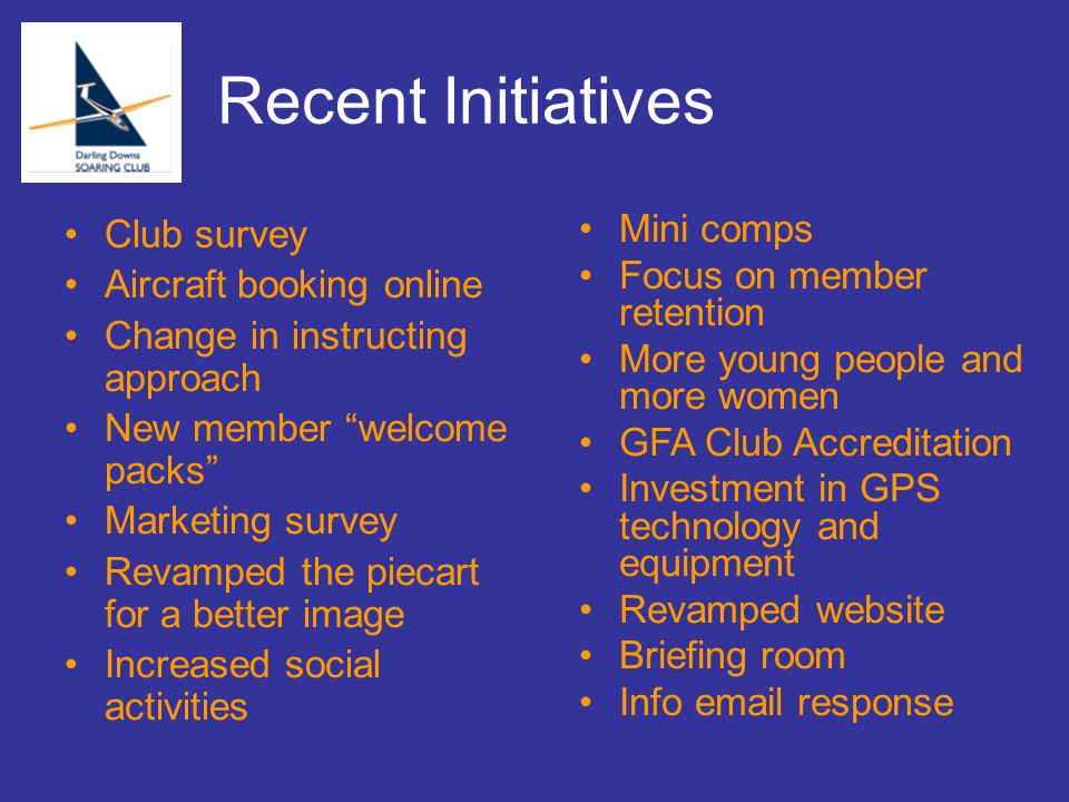 "Recent Initiatives Club survey Aircraft booking online Change in instructing approach New member ""welcome packs"" Marketing survey Revamped the piecart"