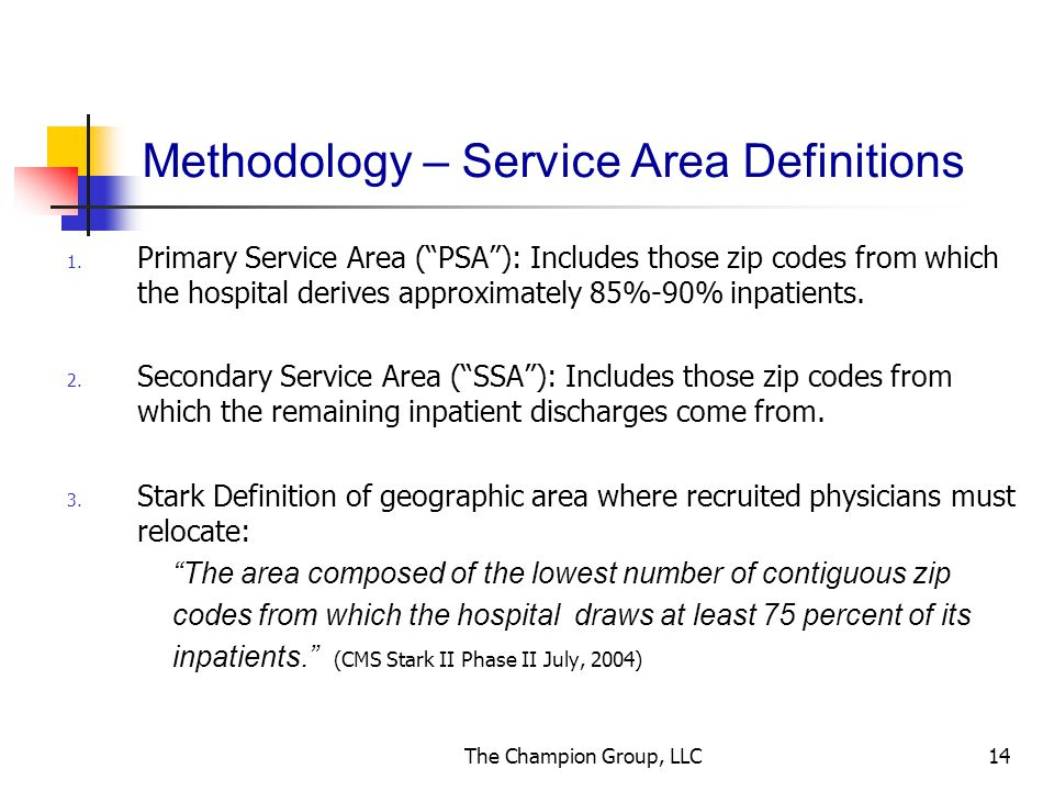 The Champion Group, LLC14 Methodology – Service Area Definitions 1.