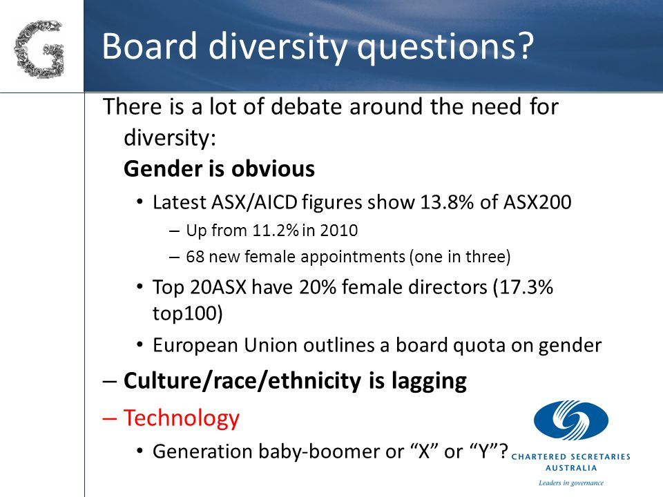 Board diversity questions.