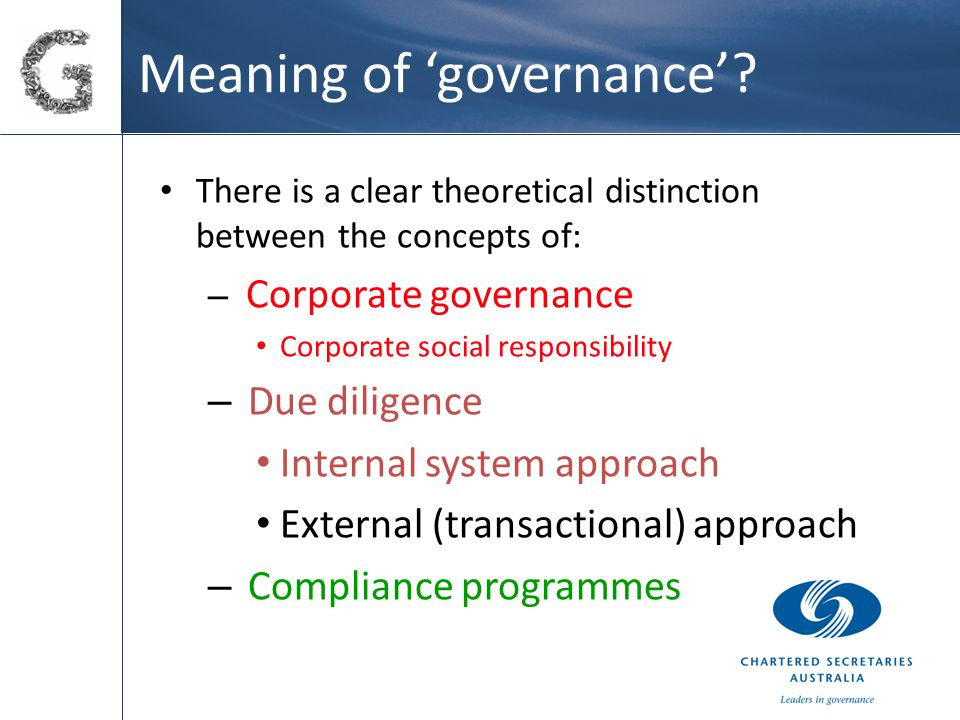 Meaning of 'governance'.