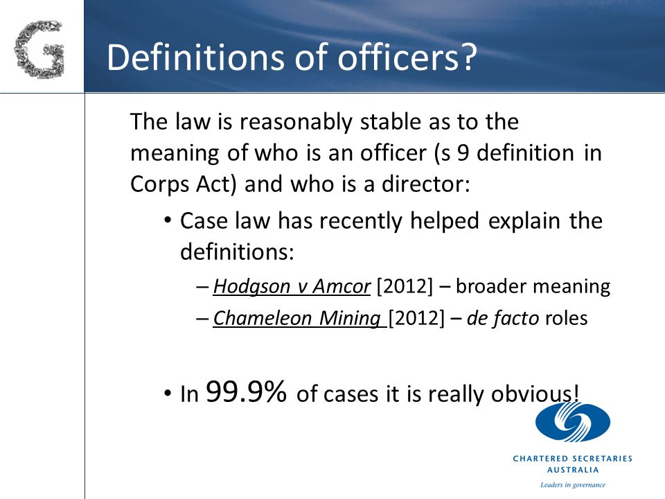 Definitions of officers.