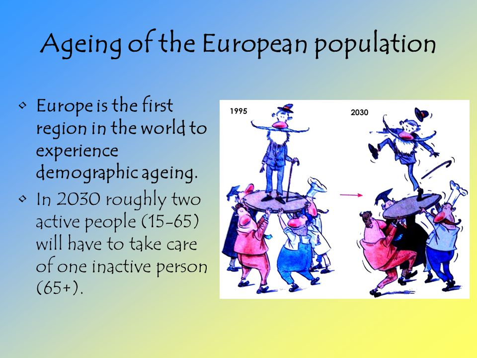 Ageing of the European population Europe is the first region in the world to experience demographic ageing.