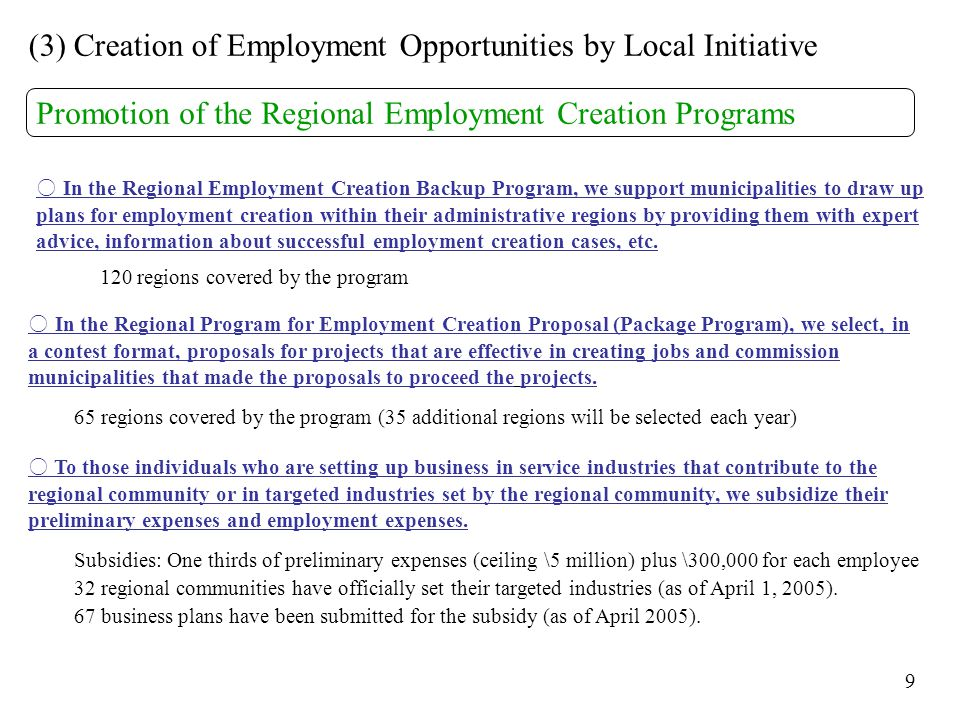 (3) Creation of Employment Opportunities by Local Initiative Promotion of the Regional Employment Creation Programs ○ In the Regional Employment Creation Backup Program, we support municipalities to draw up plans for employment creation within their administrative regions by providing them with expert advice, information about successful employment creation cases, etc.