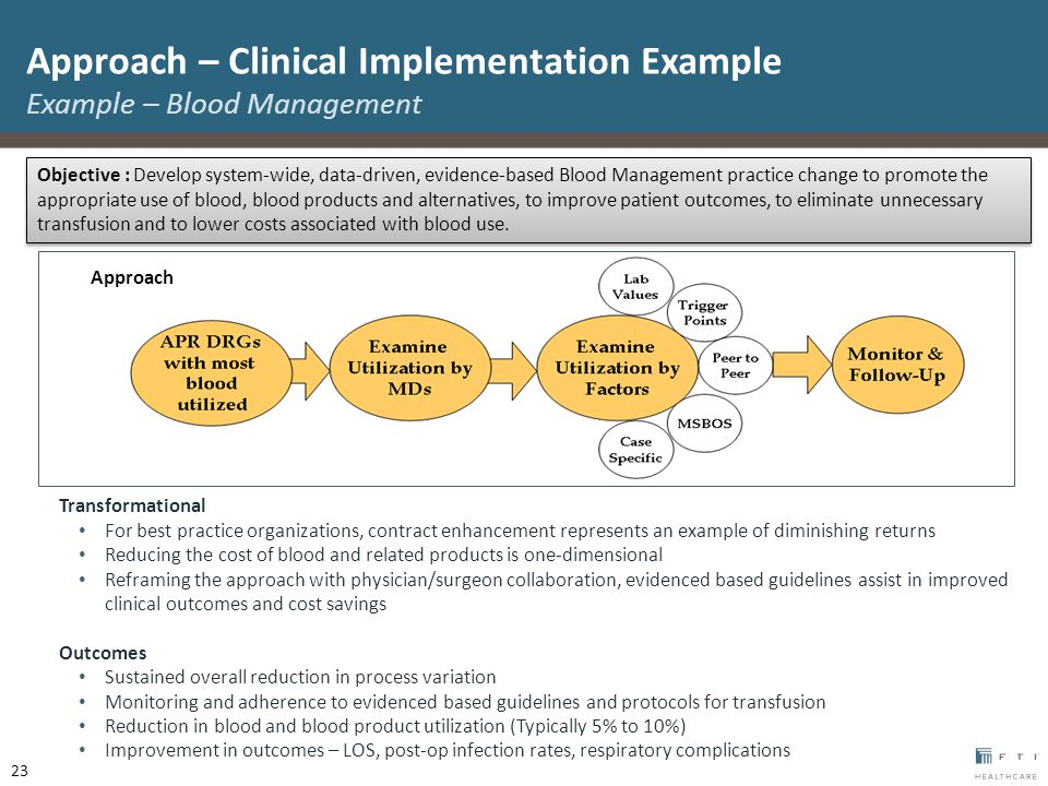 Transformational For best practice organizations, contract enhancement represents an example of diminishing returns Reducing the cost of blood and related products is one-dimensional Reframing the approach with physician/surgeon collaboration, evidenced based guidelines assist in improved clinical outcomes and cost savings Outcomes Sustained overall reduction in process variation Monitoring and adherence to evidenced based guidelines and protocols for transfusion Reduction in blood and blood product utilization (Typically 5% to 10%) Improvement in outcomes – LOS, post-op infection rates, respiratory complications Approach 23 Objective : Develop system-wide, data-driven, evidence-based Blood Management practice change to promote the appropriate use of blood, blood products and alternatives, to improve patient outcomes, to eliminate unnecessary transfusion and to lower costs associated with blood use.