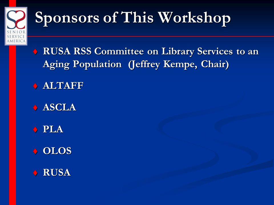 Workshop Presenters t Tony Sarmiento, Executive Director, Senior Service America, Inc.