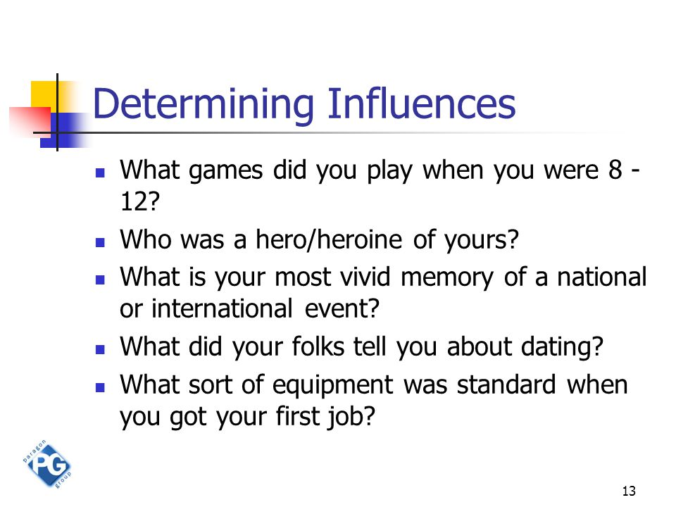 13 Determining Influences What games did you play when you were 8 - 12.