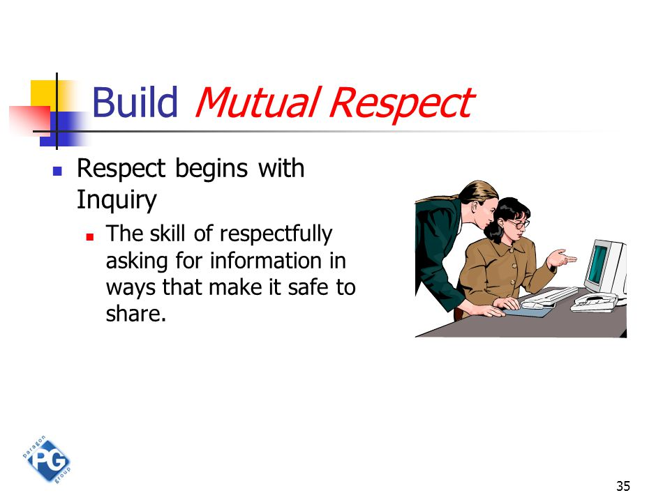 35 Build Mutual Respect Respect begins with Inquiry The skill of respectfully asking for information in ways that make it safe to share.
