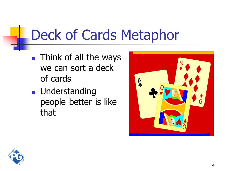 4 Deck of Cards Metaphor Think of all the ways we can sort a deck of cards Understanding people better is like that
