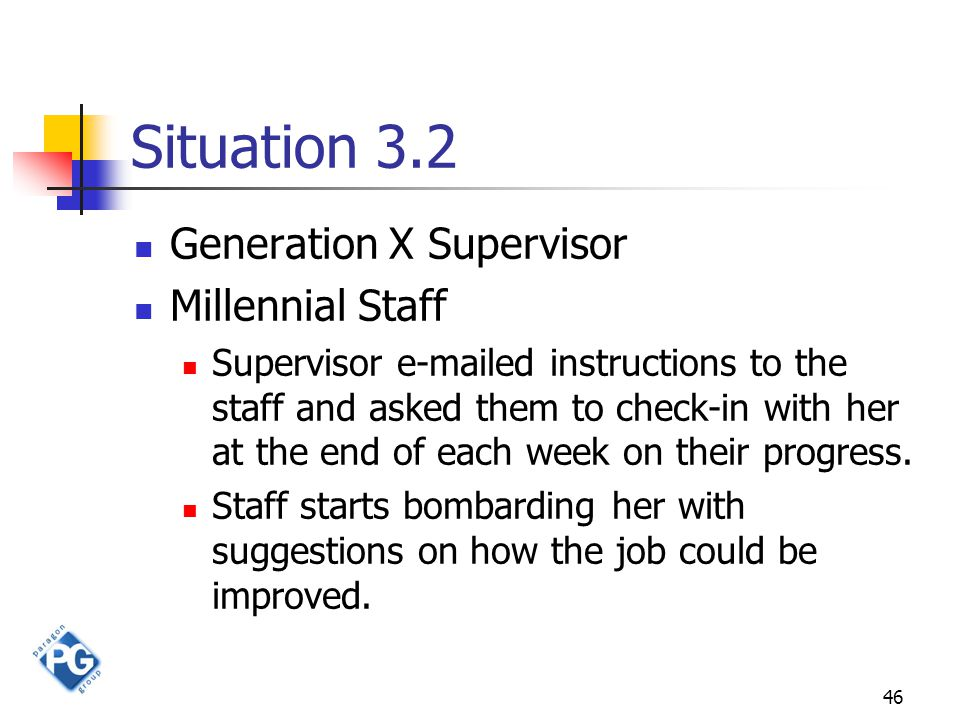 46 Situation 3.2 Generation X Supervisor Millennial Staff Supervisor e-mailed instructions to the staff and asked them to check-in with her at the end