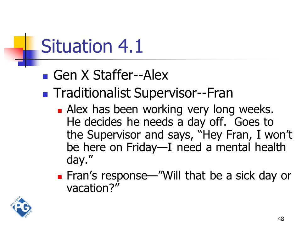 48 Situation 4.1 Gen X Staffer--Alex Traditionalist Supervisor--Fran Alex has been working very long weeks.