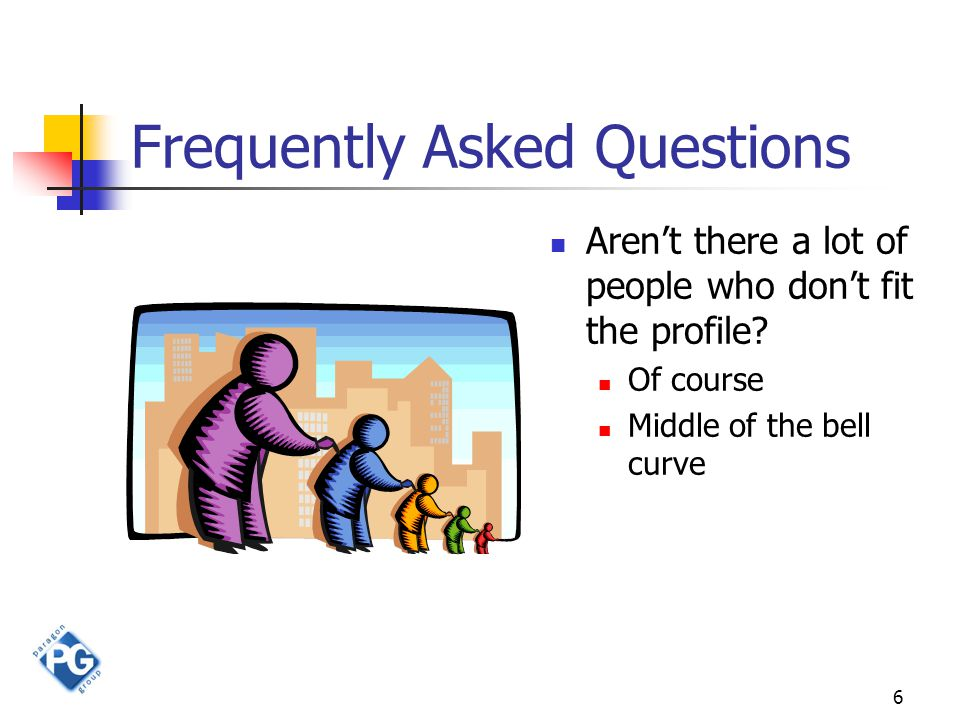 6 Frequently Asked Questions Aren't there a lot of people who don't fit the profile.