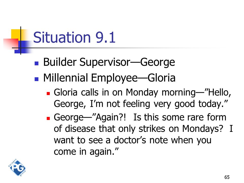 "65 Situation 9.1 Builder Supervisor—George Millennial Employee—Gloria Gloria calls in on Monday morning—""Hello, George, I'm not feeling very good toda"