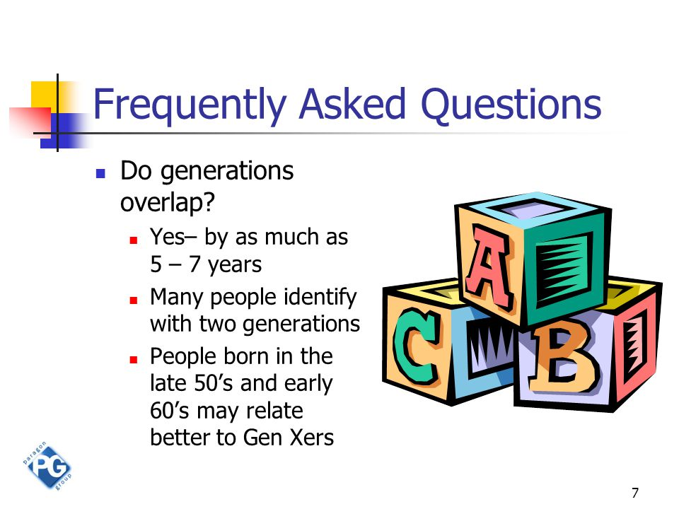 7 Frequently Asked Questions Do generations overlap.