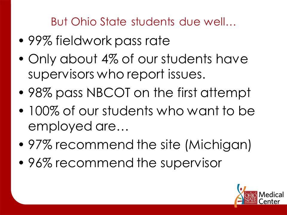 But Ohio State students due well… 99% fieldwork pass rate Only about 4% of our students have supervisors who report issues. 98% pass NBCOT on the firs