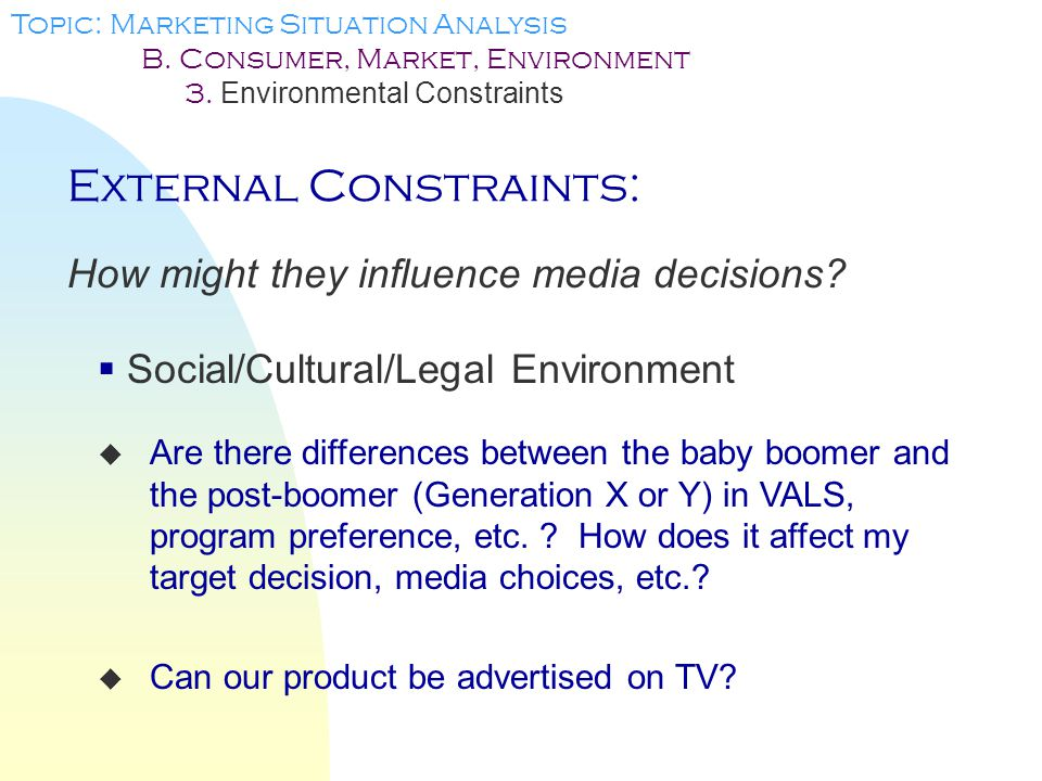 External Constraints: How might they influence media decisions.
