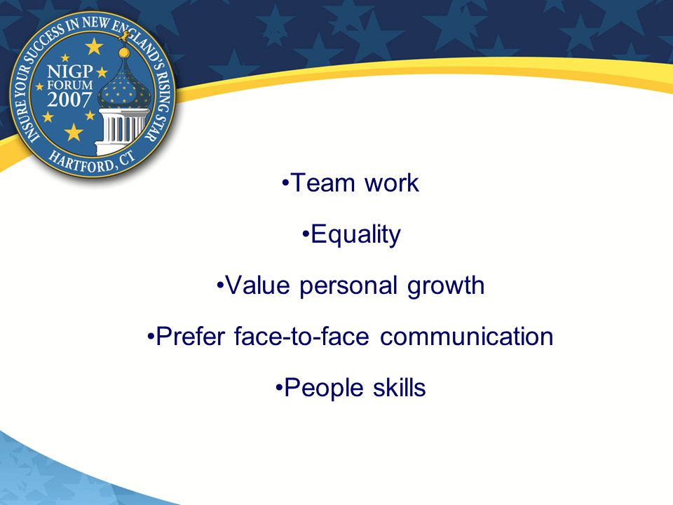 Team work Equality Value personal growth Prefer face-to-face communication People skills