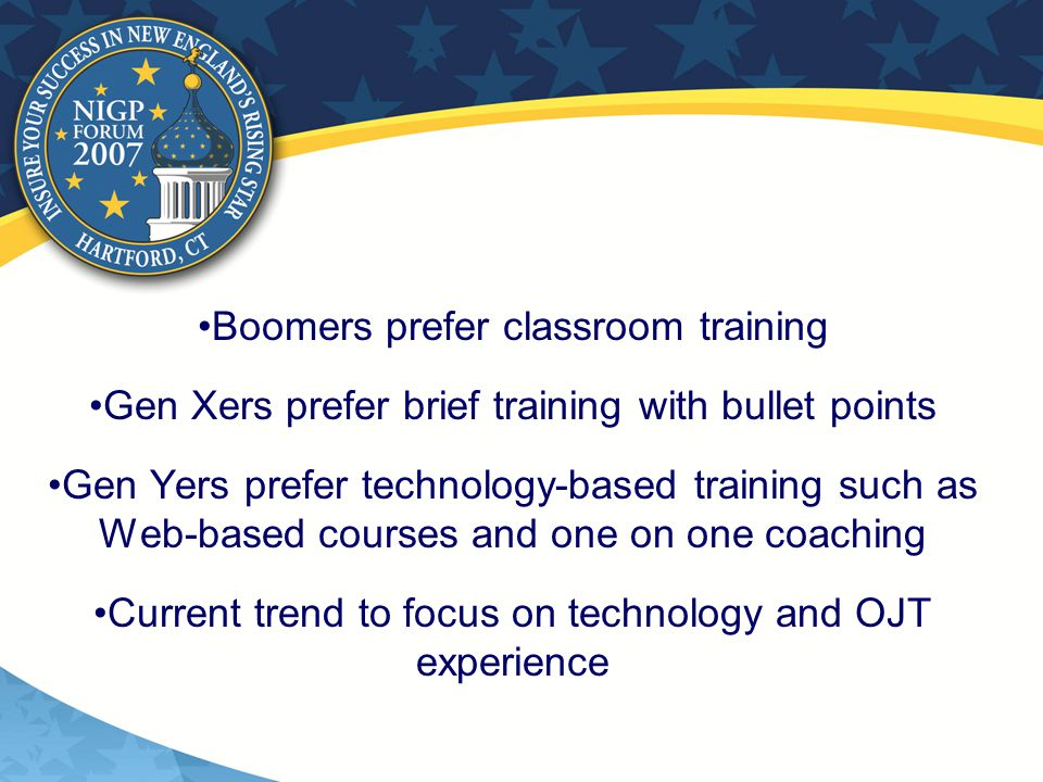 Boomers prefer classroom training Gen Xers prefer brief training with bullet points Gen Yers prefer technology-based training such as Web-based courses and one on one coaching Current trend to focus on technology and OJT experience