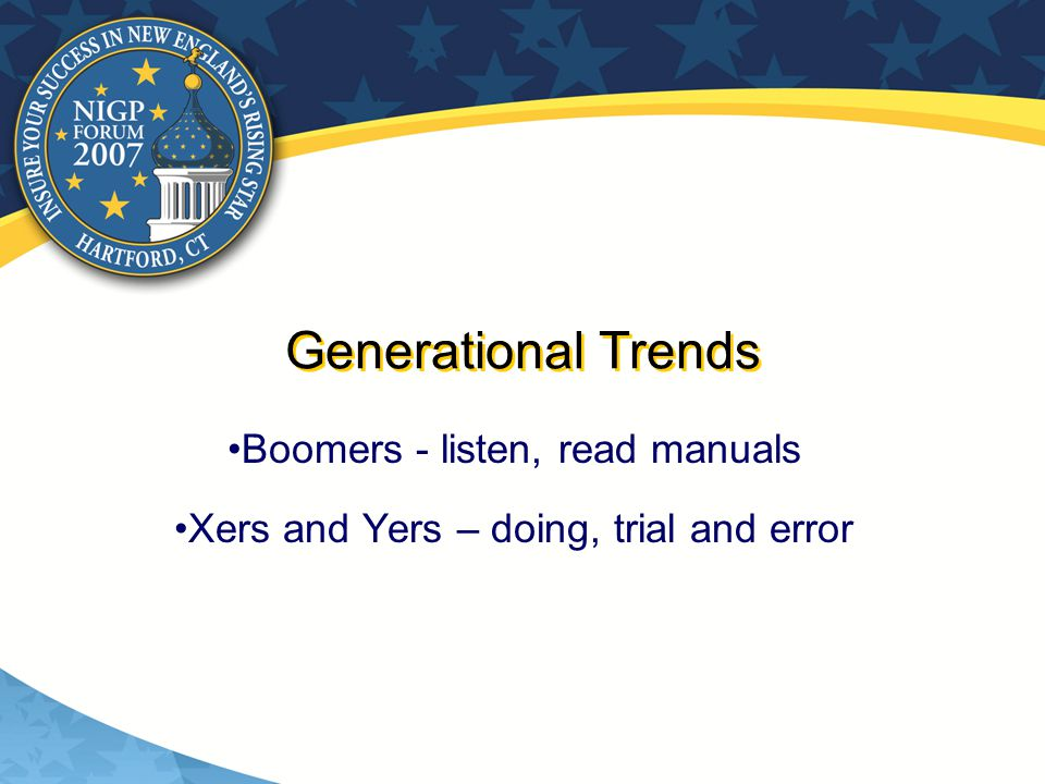 Generational Trends Boomers - listen, read manuals Xers and Yers – doing, trial and error