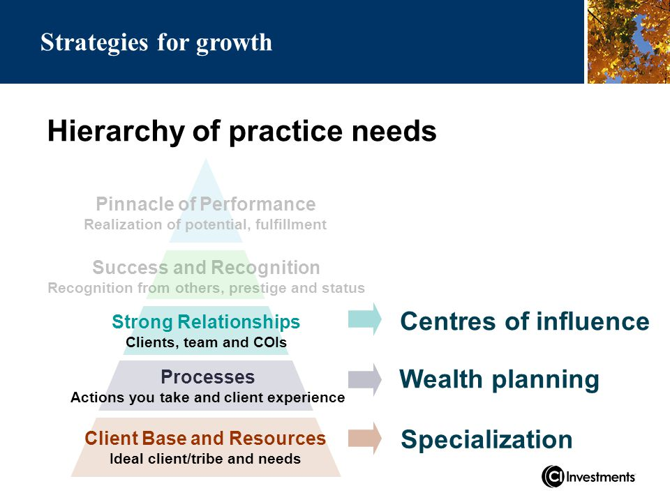 Hierarchy of practice needs Success and Recognition Recognition from others, prestige and status Strong Relationships Clients, team and COIs Processes Actions you take and client experience Client Base and Resources Ideal client/tribe and needs Pinnacle of Performance Realization of potential, fulfillment Centres of influence Wealth planning Specialization Strategies for growth