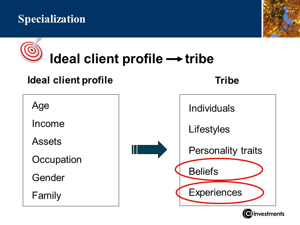 Ideal client profile tribe Specialization Ideal client profile Age Income Assets Occupation Gender Family Individuals Lifestyles Personality traits Beliefs Experiences Tribe