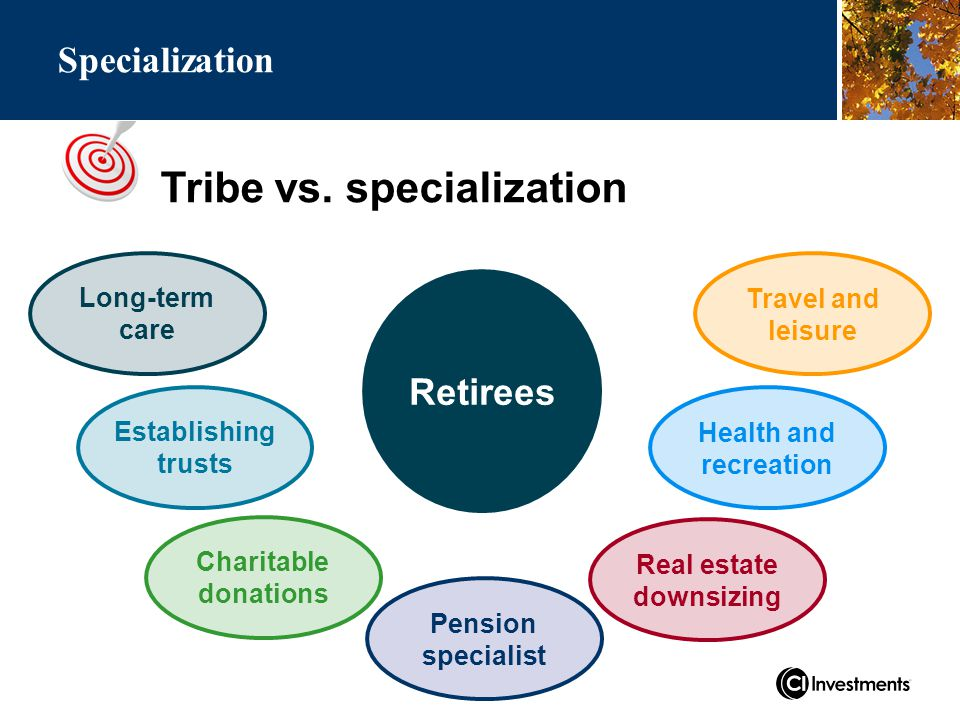 Travel and leisure Health and recreation Specialization Retirees Long-term care Establishing trusts Real estate downsizing Charitable donations Tribe vs.