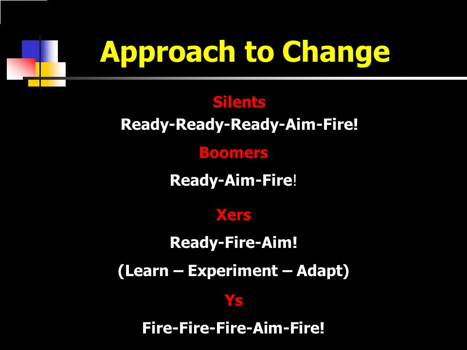 Approach to Change Silents Ready-Ready-Ready-Aim-Fire.