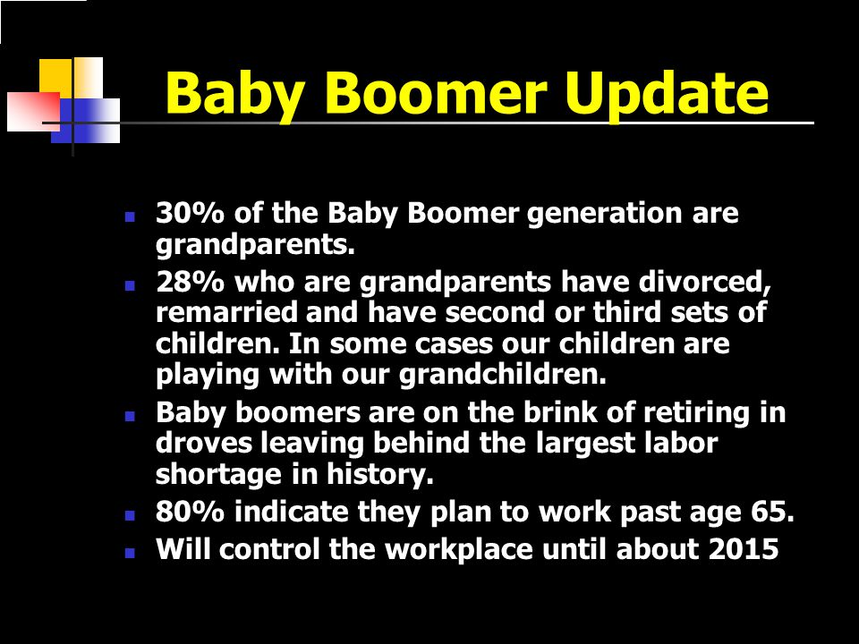 Baby Boomer Update 30% of the Baby Boomer generation are grandparents.