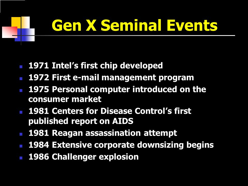 Gen X Seminal Events 1971 Intel's first chip developed 1972 First e-mail management program 1975 Personal computer introduced on the consumer market 1981 Centers for Disease Control's first published report on AIDS 1981 Reagan assassination attempt 1984 Extensive corporate downsizing begins 1986 Challenger explosion