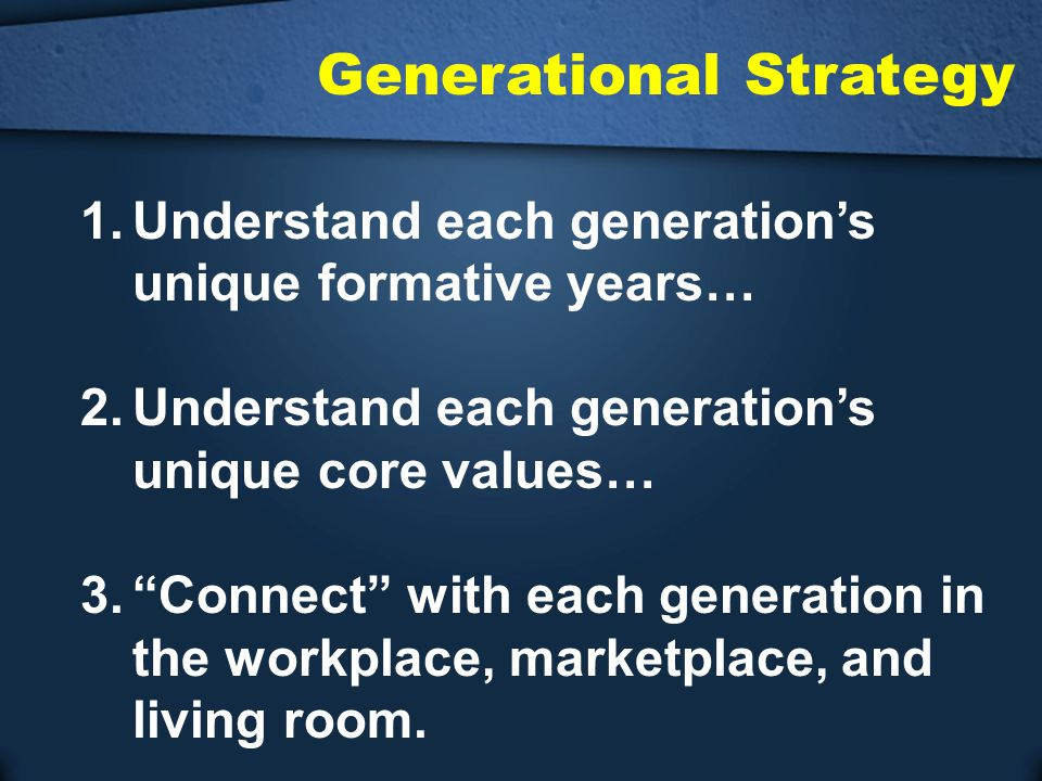 """Generational Strategy 1.Understand each generation's unique formative years… 2.Understand each generation's unique core values… 3.""""Connect"""" with each"""