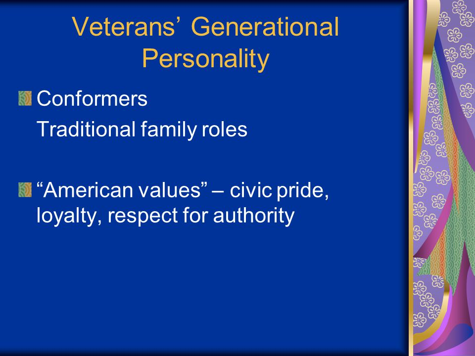 Veterans' General Personality Life isn't fun? That's the way it goes.