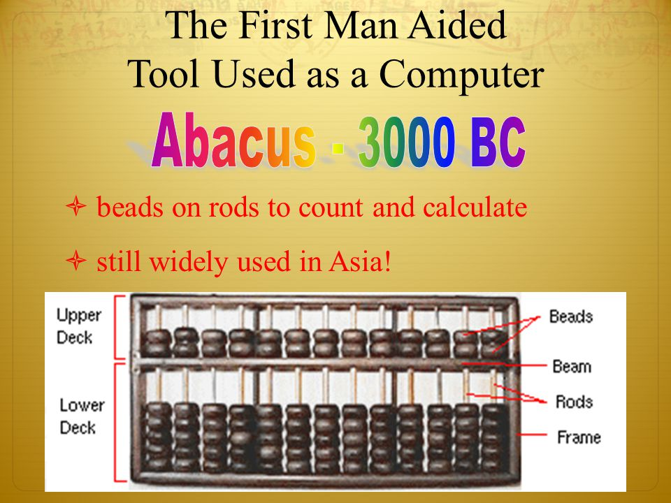The First Man Aided Tool Used as a Computer  beads on rods to count and calculate  still widely used in Asia!
