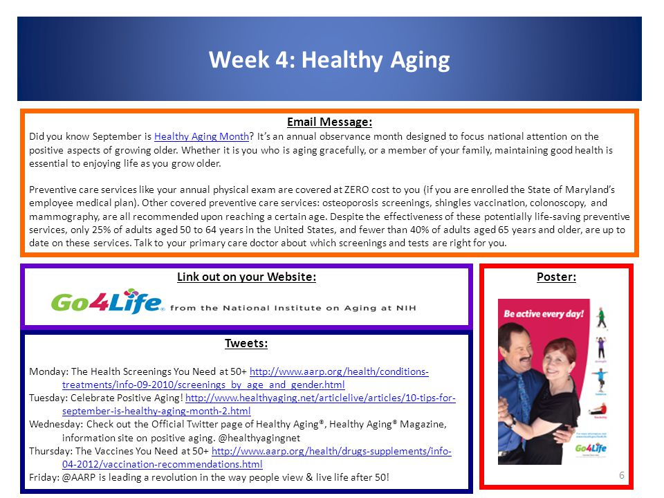Week 4: Healthy Aging 6 Poster: Email Message: Did you know September is Healthy Aging Month.