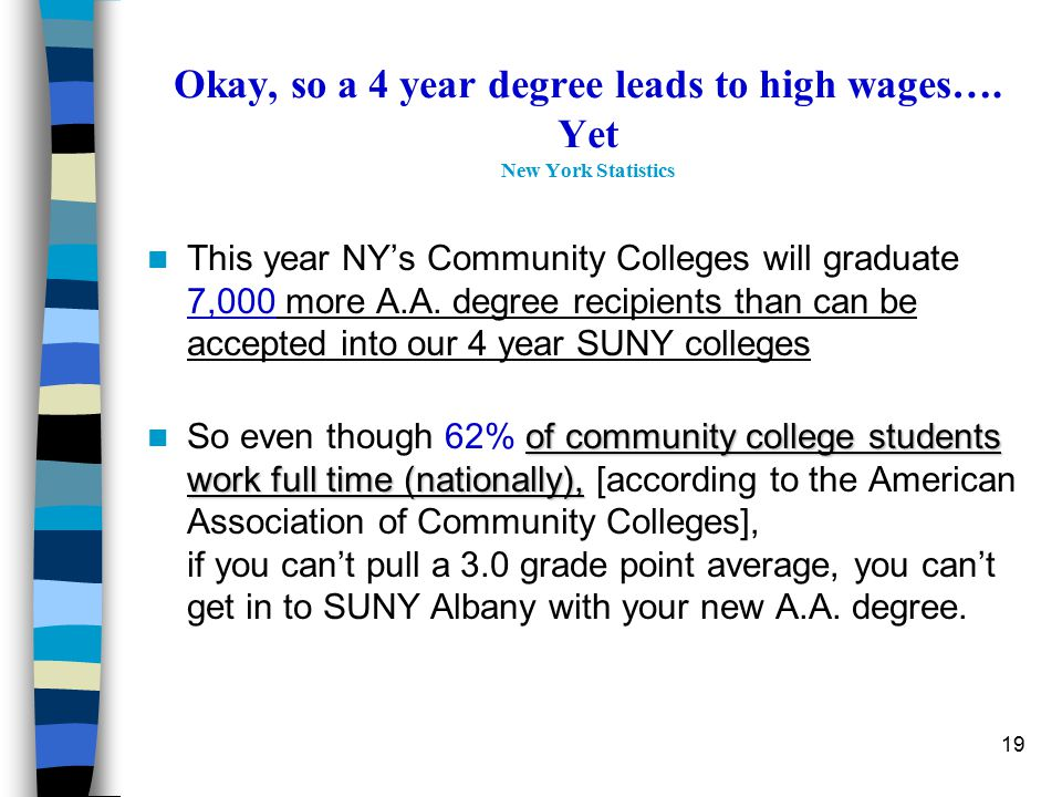 19 Okay, so a 4 year degree leads to high wages…. Yet New York Statistics This year NY's Community Colleges will graduate 7,000 more A.A. degree recip
