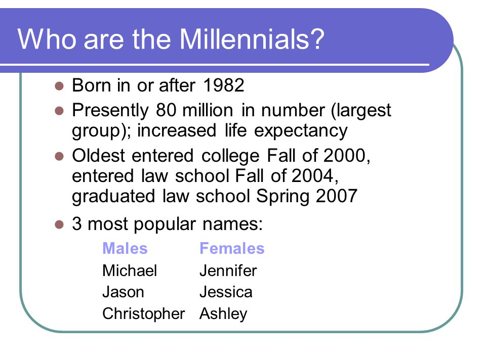 Who are the Millennials.