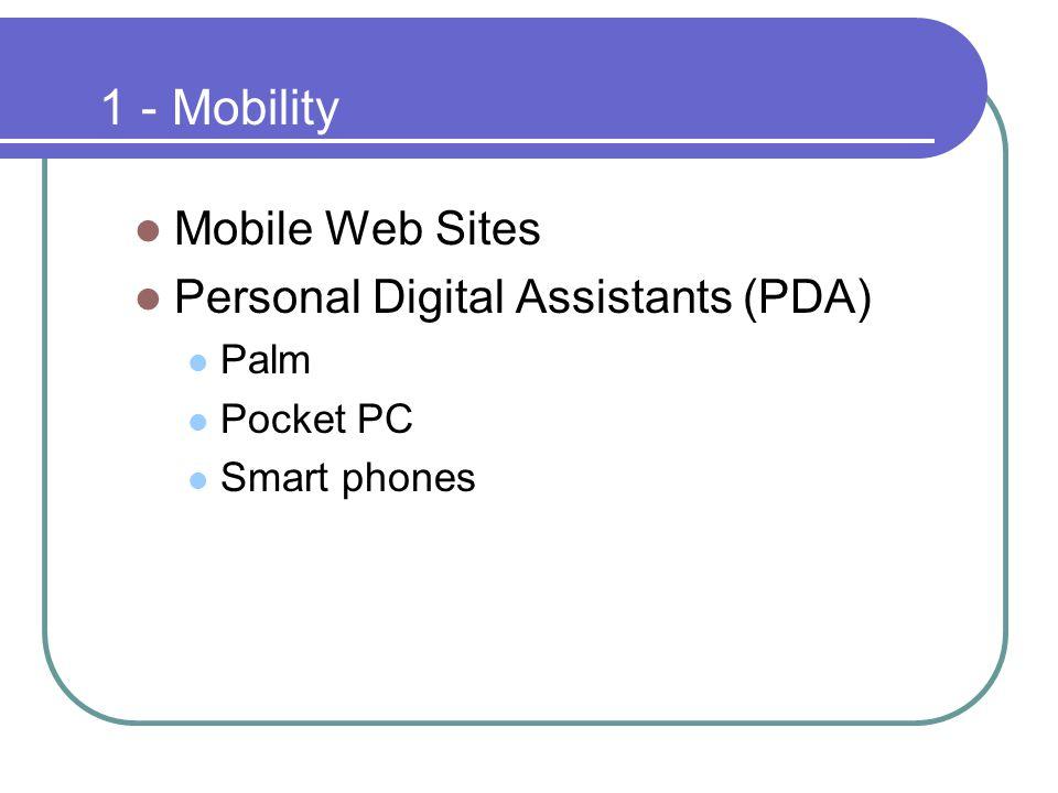 1 - Mobility Mobile Web Sites Personal Digital Assistants (PDA) Palm Pocket PC Smart phones