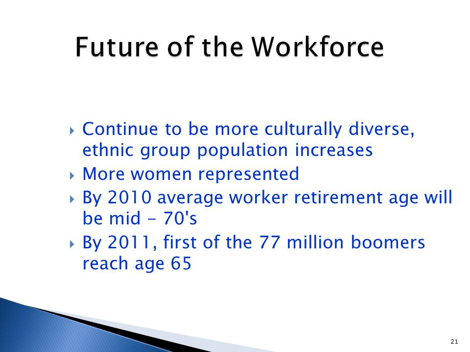 21 Future of the Workforce  Continue to be more culturally diverse, ethnic group population increases  More women represented  By 2010 average worker retirement age will be mid - 70 s  By 2011, first of the 77 million boomers reach age 65