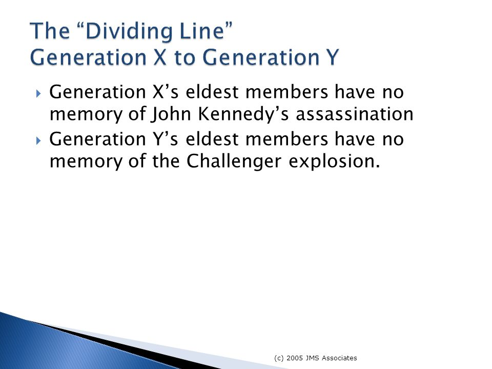  Generation X's eldest members have no memory of John Kennedy's assassination  Generation Y's eldest members have no memory of the Challenger explosion.
