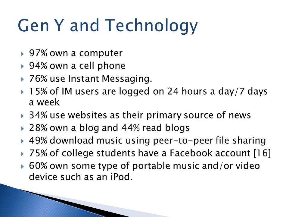  97% own a computer  94% own a cell phone  76% use Instant Messaging.