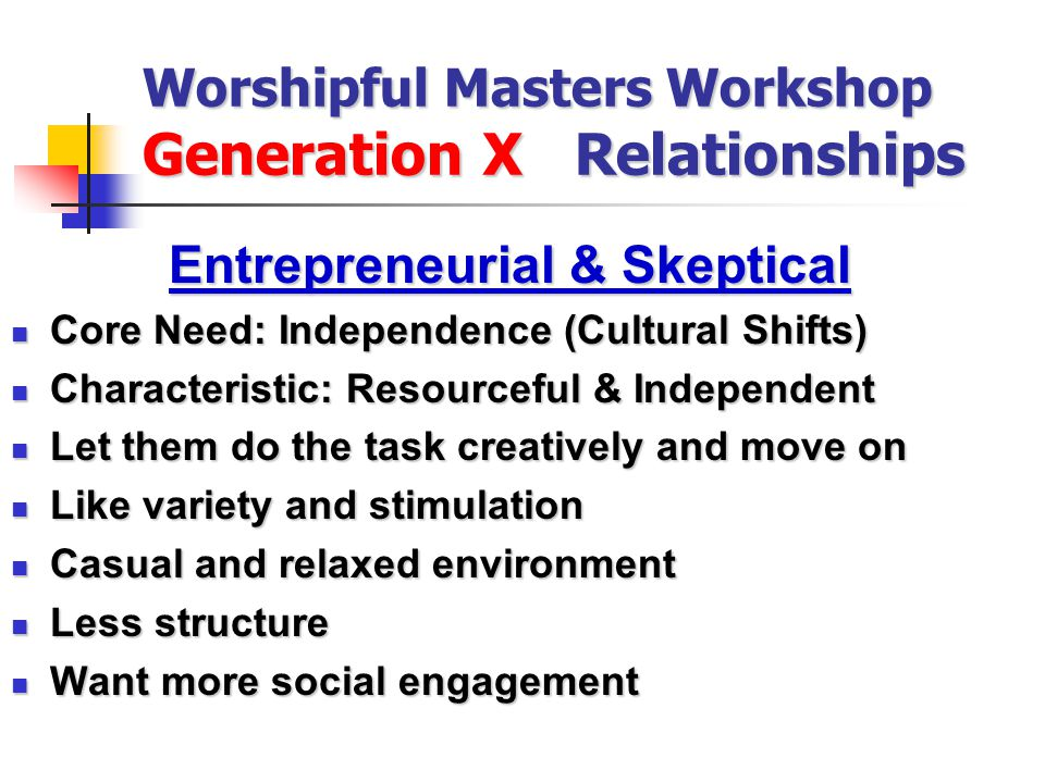 Worshipful Masters Workshop Generation X Relationships Entrepreneurial & Skeptical Core Need: Independence (Cultural Shifts) Core Need: Independence (Cultural Shifts) Characteristic: Resourceful & Independent Characteristic: Resourceful & Independent Let them do the task creatively and move on Let them do the task creatively and move on Like variety and stimulation Like variety and stimulation Casual and relaxed environment Casual and relaxed environment Less structure Less structure Want more social engagement Want more social engagement