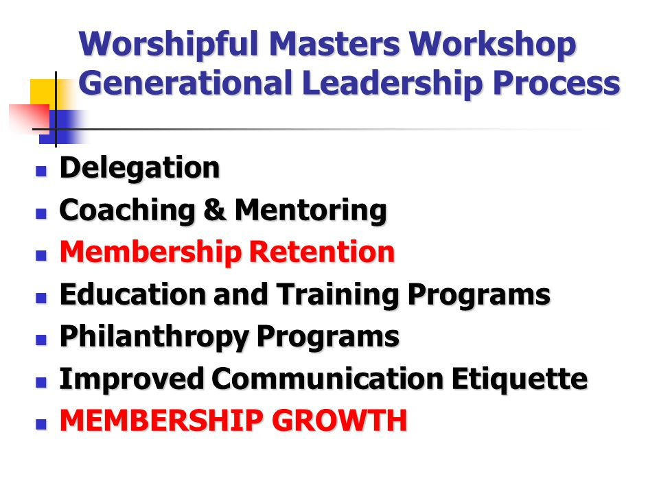 Worshipful Masters Workshop Generational Leadership Process Delegation Delegation Coaching & Mentoring Coaching & Mentoring Membership Retention Membership Retention Education and Training Programs Education and Training Programs Philanthropy Programs Philanthropy Programs Improved Communication Etiquette Improved Communication Etiquette MEMBERSHIP GROWTH MEMBERSHIP GROWTH